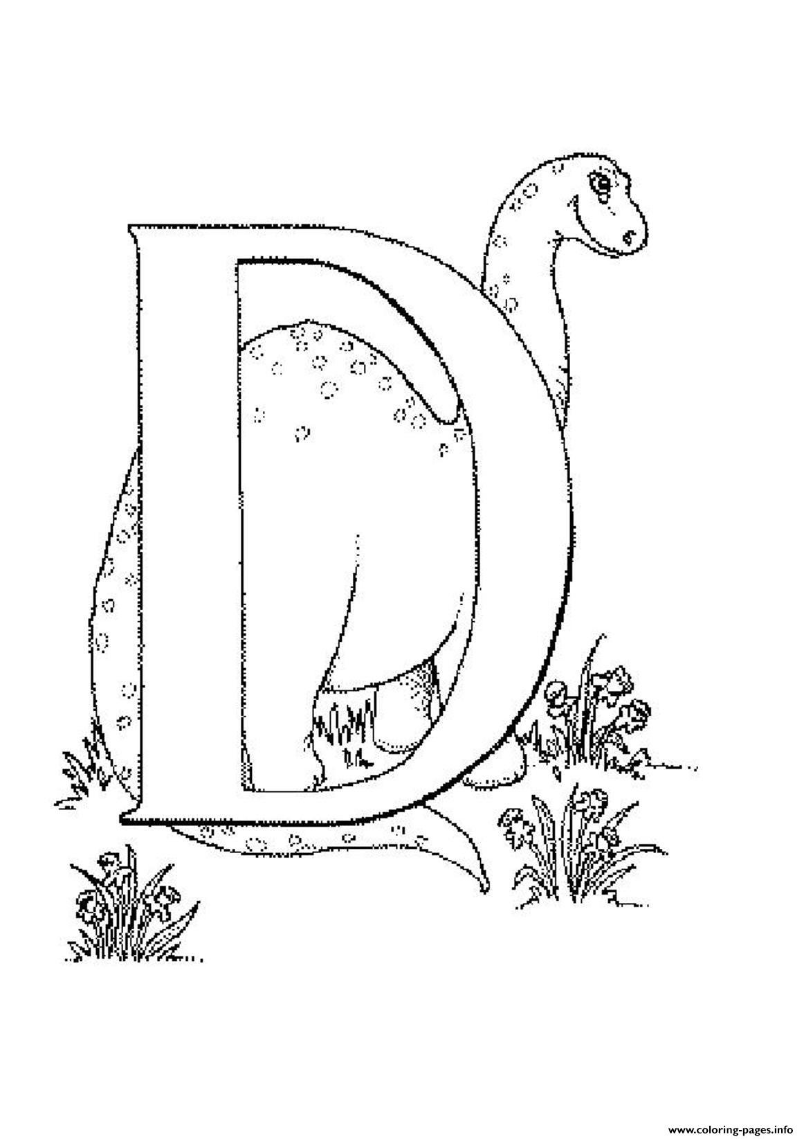 Printable Alphabet S D For Dino066c coloring pages