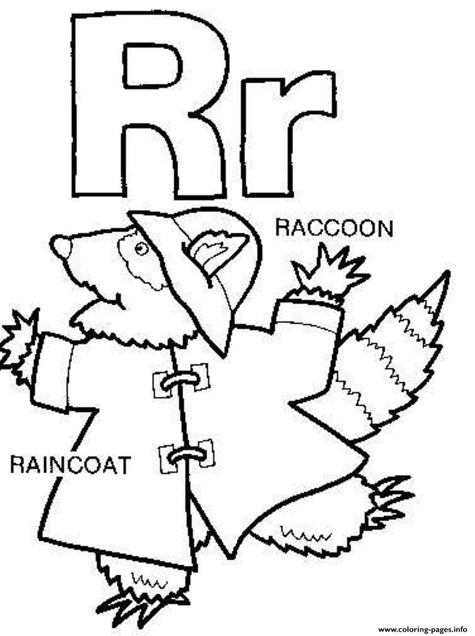 Raincoat Raccoon Free Alphabet Sec32 Coloring Pages