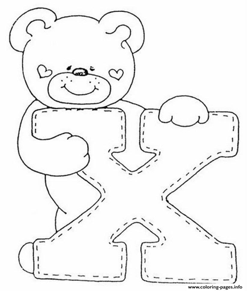 Cute bear x alphabet s53d5 coloring pages printable - Plantillas para dibujar en la pared ...