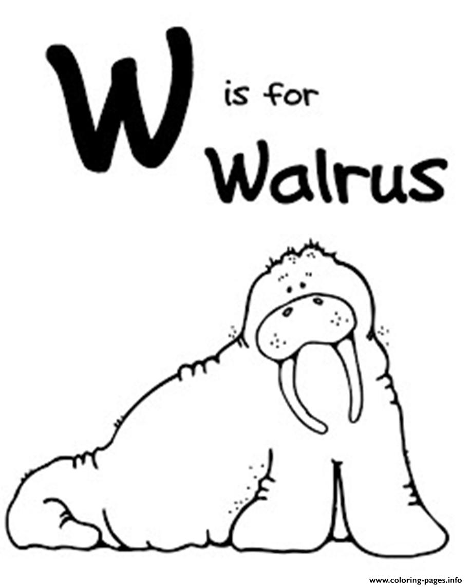 W For Walrus Free Alphabet S318f Coloring Pages Printable