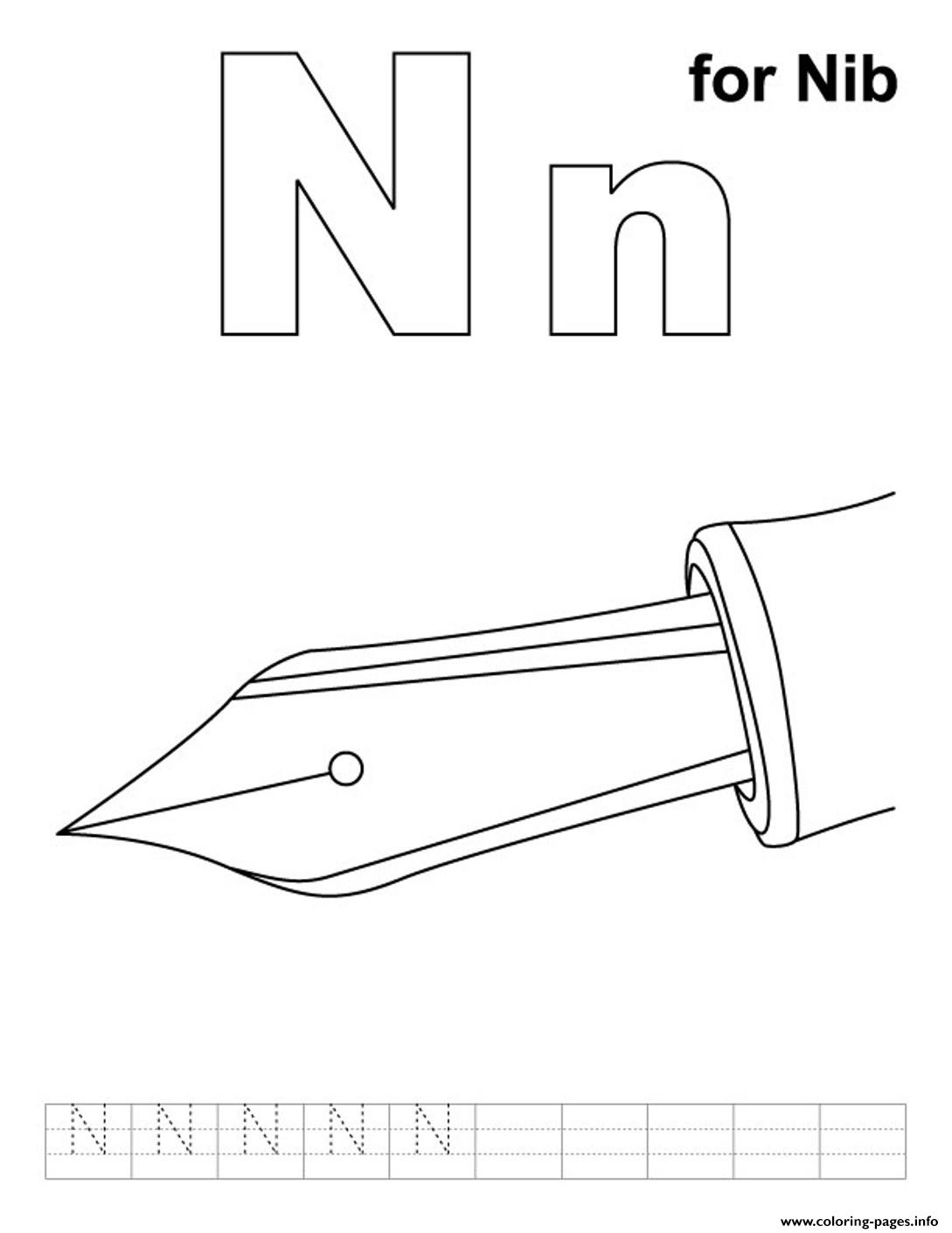 Ni For Nib Free Alphabet S54eb coloring pages