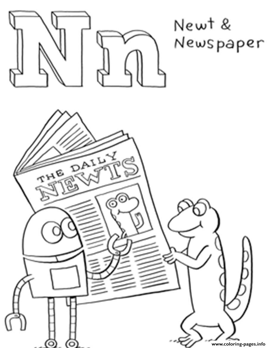 Newt And Newspaper Free Alphabet