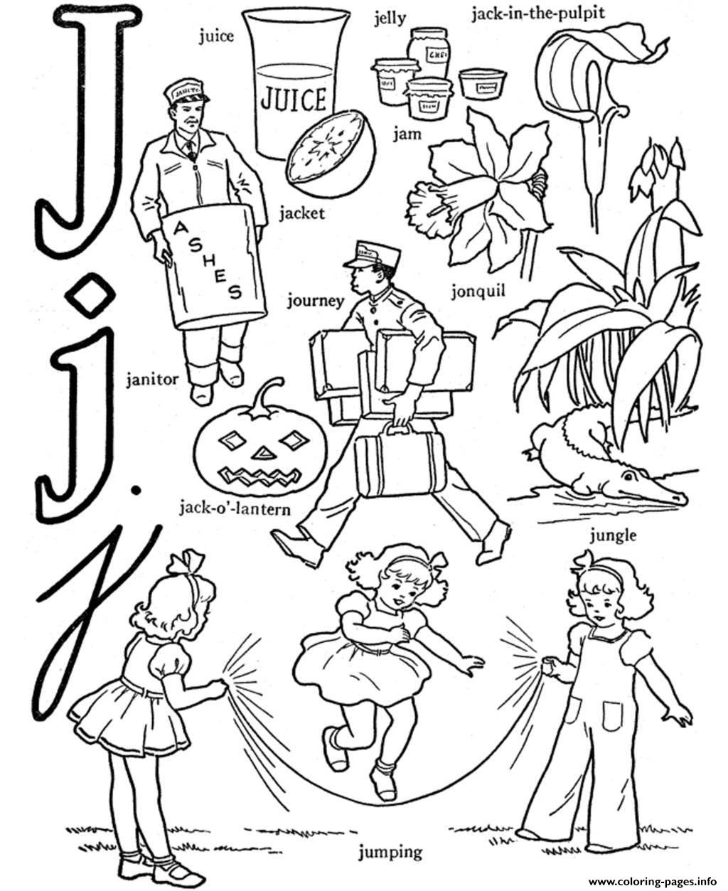 Alphabet  Words Of J Printable9b67 coloring pages