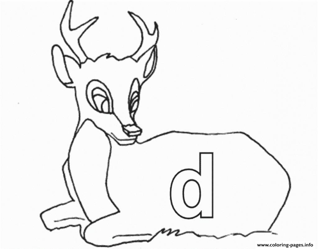picture about Deer Printable named Lowercase D For Deer Printable Alphabet S7150 Coloring Web pages