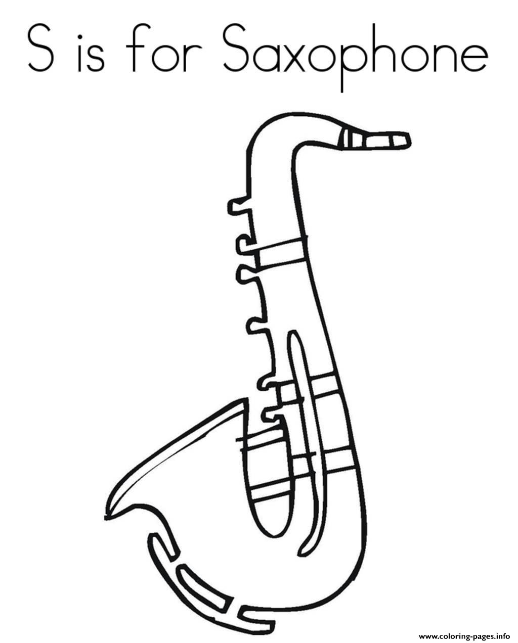 saxaphone coloring page - saxophone alphabet 688d coloring pages printable