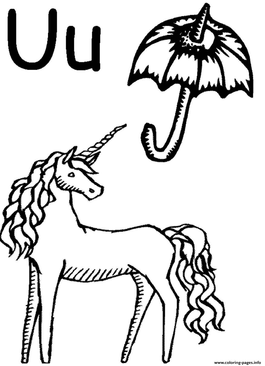 Unicorn And Umbrella Alphabet S Free4979 Coloring Pages Printable