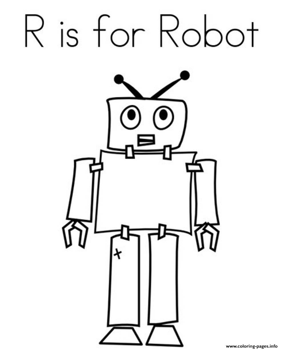 R is for Robot Coloring Page  E  Busy Mind  Pinterest