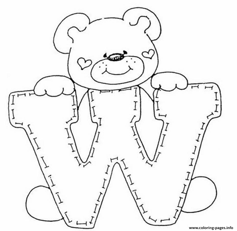 Cute Bear In W Free Alphabet Sda12