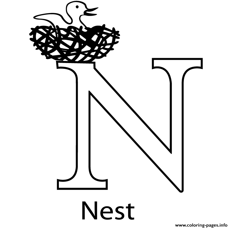 N For Nest Free Alphabet S7bc0 Coloring Pages