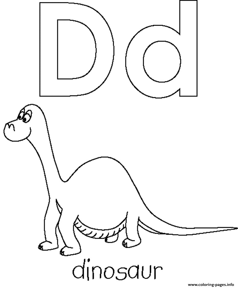 image relating to Letter D Printable named Free of charge Letter D For Dino Printable Alphabet S2139 Coloring