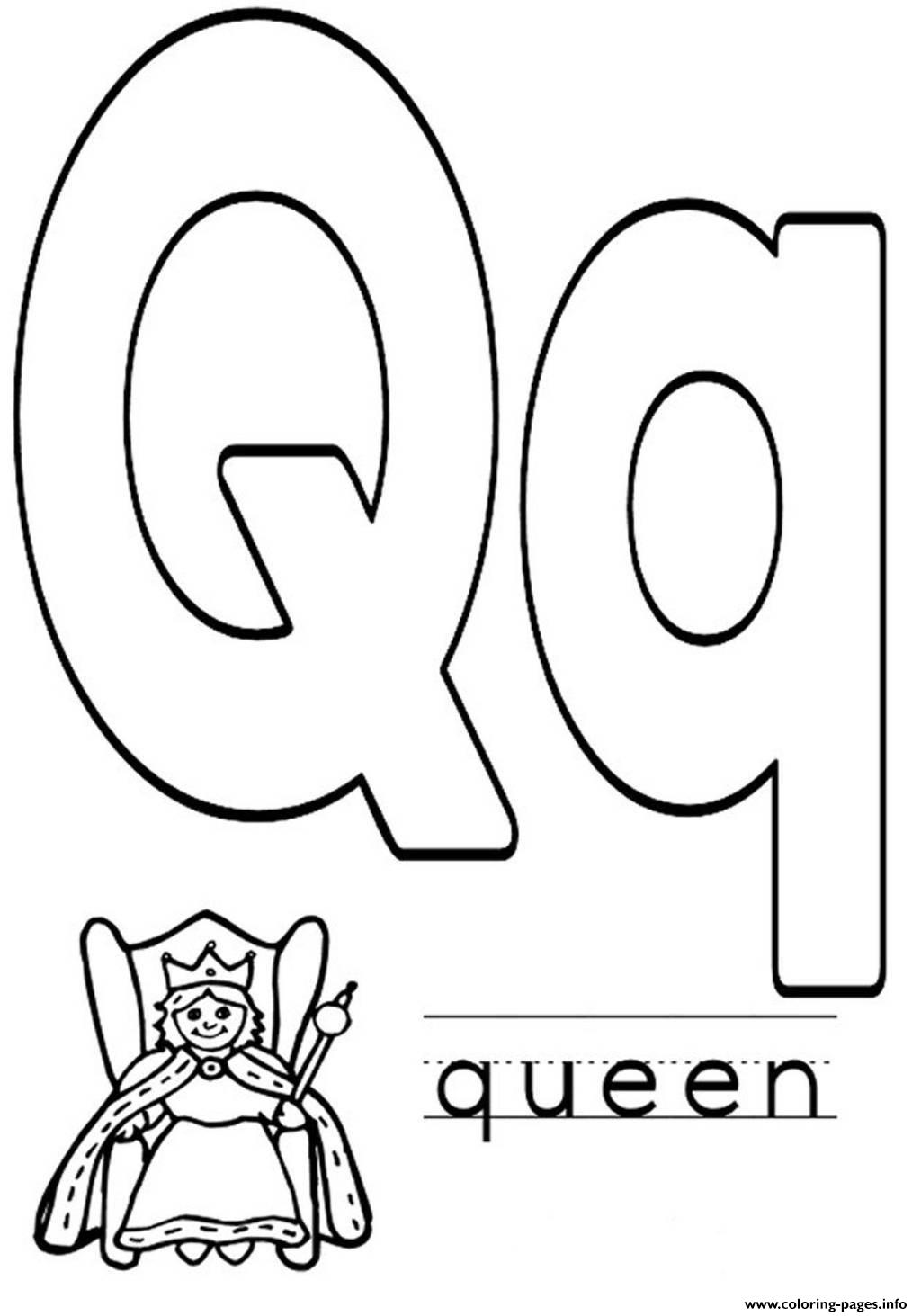 Q For Queen Coloring Pages for Kids to Color and Print