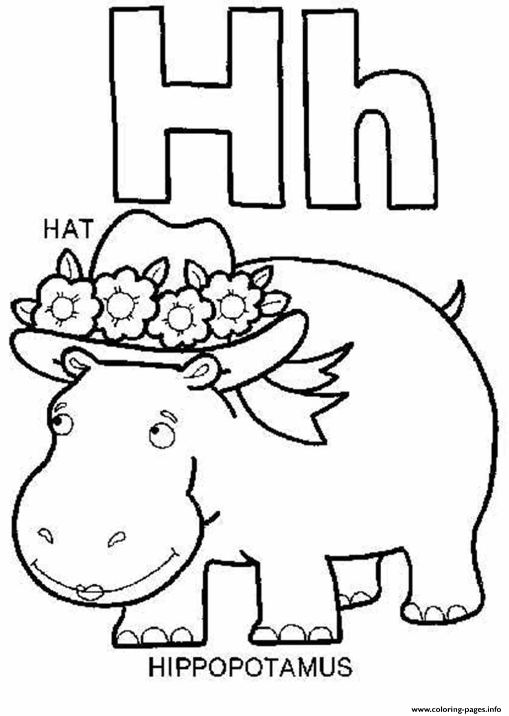 h is for hippo coloring pages - photo #27