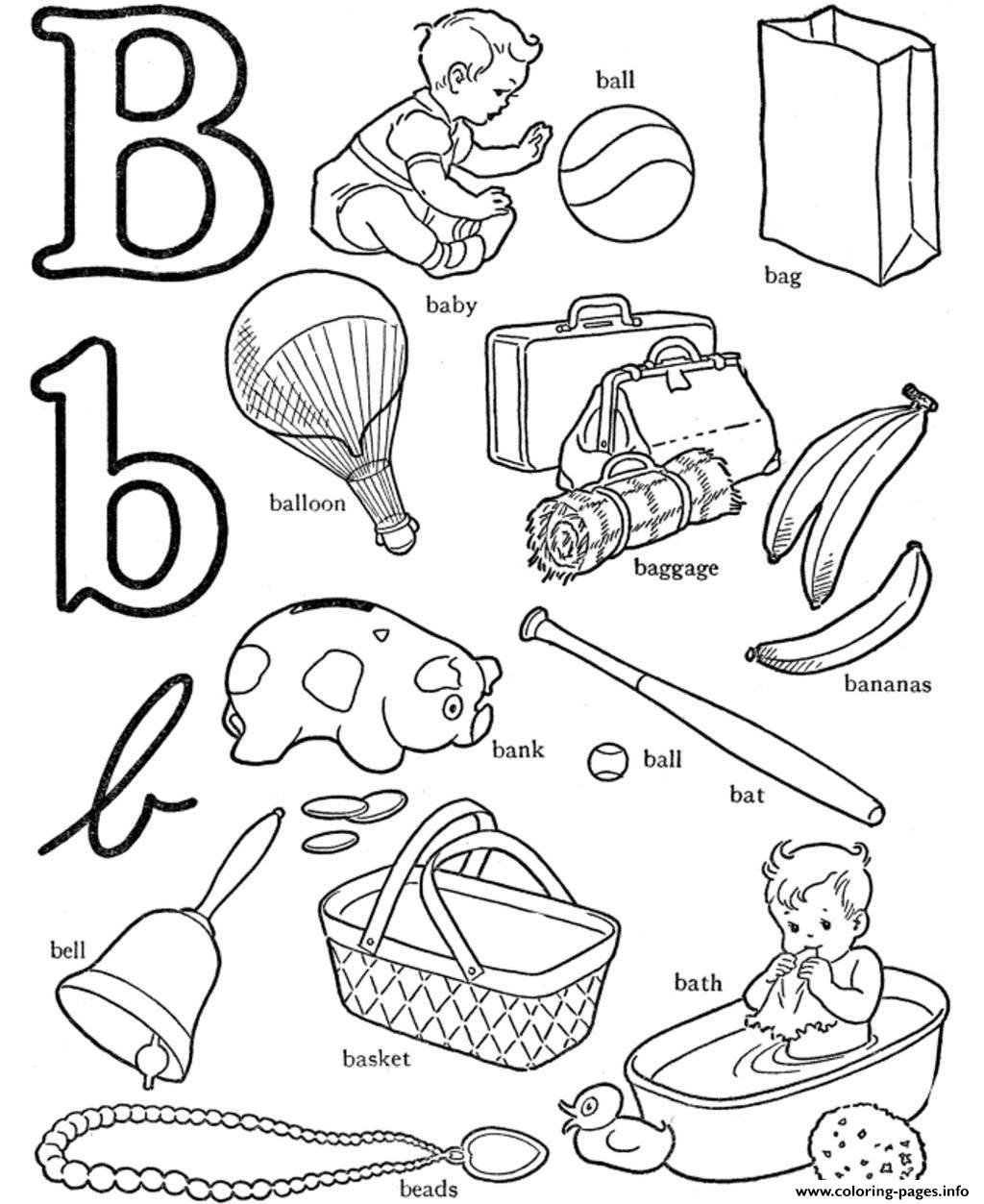 B For Words Alphabet S3b0c Coloring Pages Printable