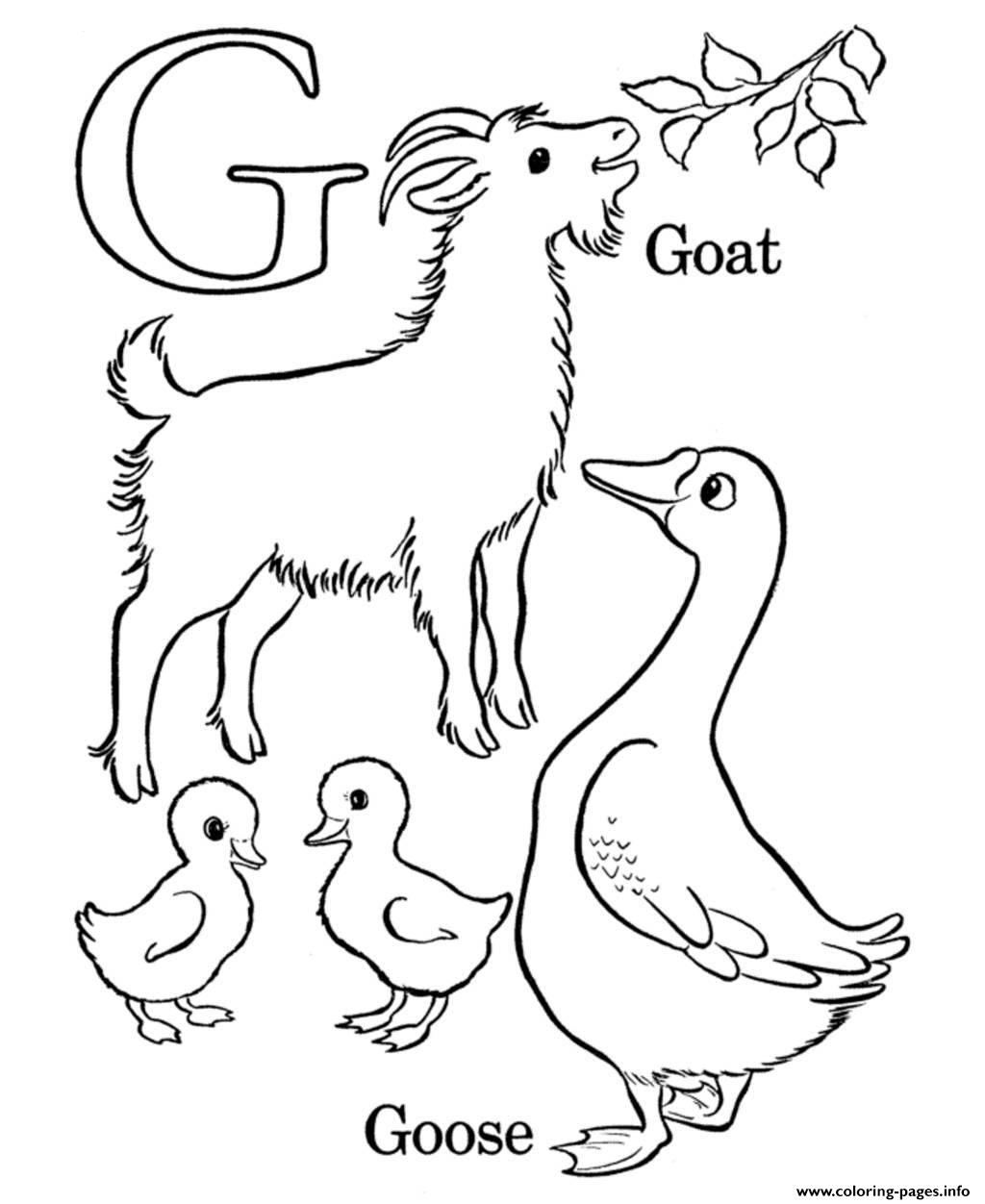 coloring pages alphabet g for goat and goose08eb coloring pages