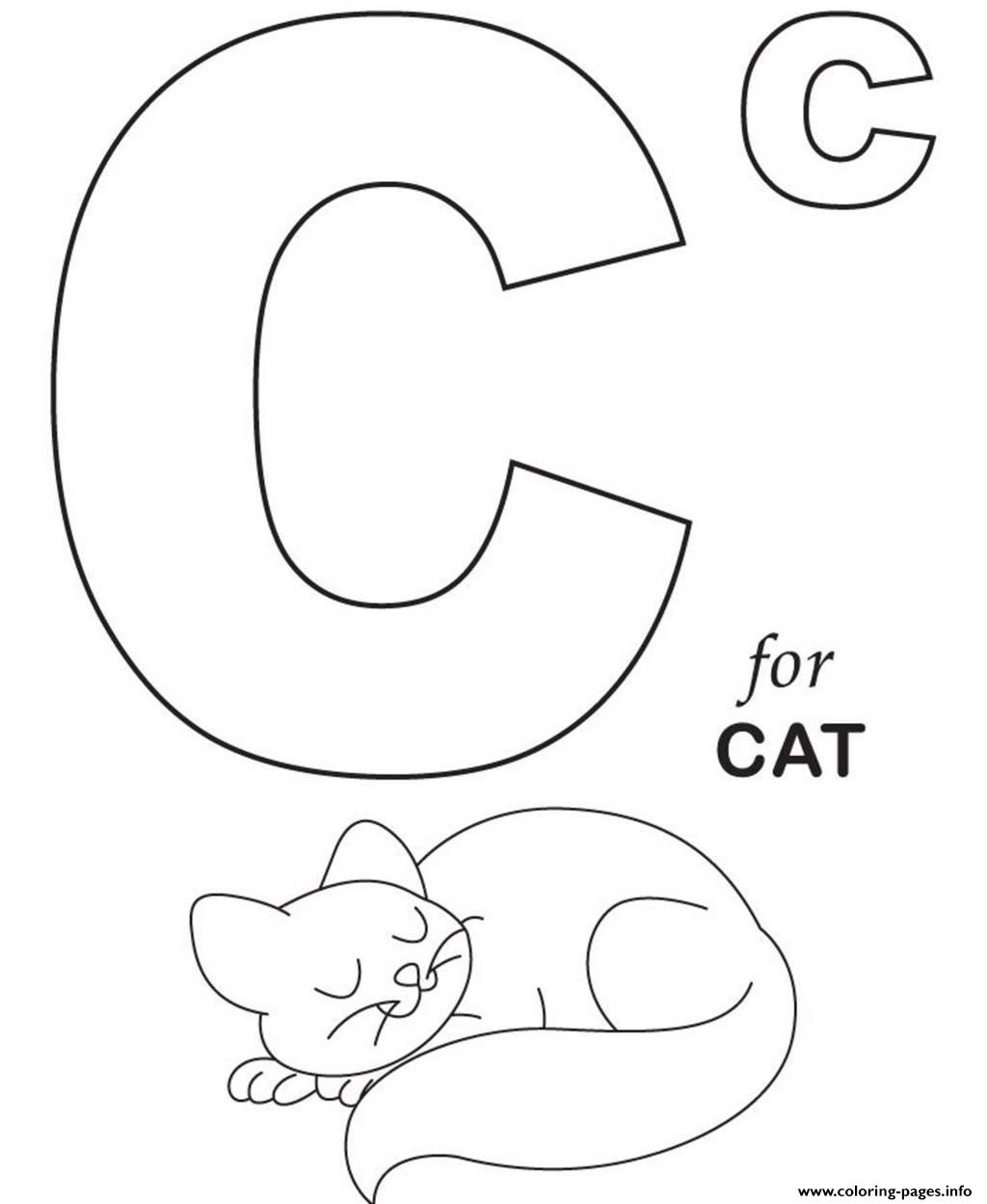 Printable c for cat s alphabetb999 coloring pages printable for C is for cat coloring page