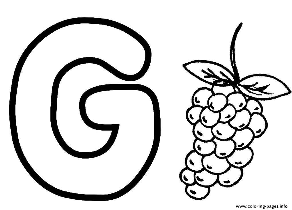 Coloring Pages Alphabet G For Grapesb4fb