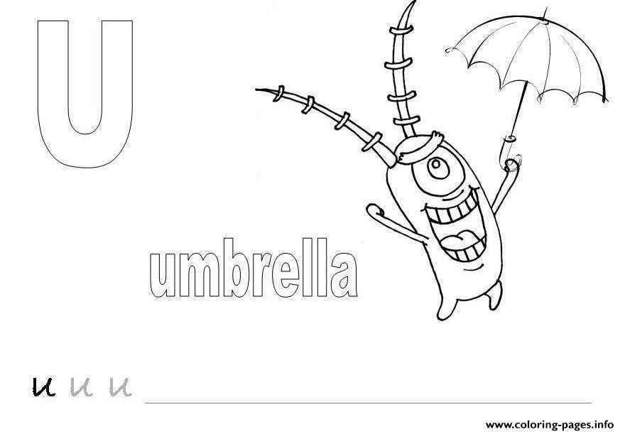 spongebob plankton with umbrella alphabet s free22d6 coloring pages