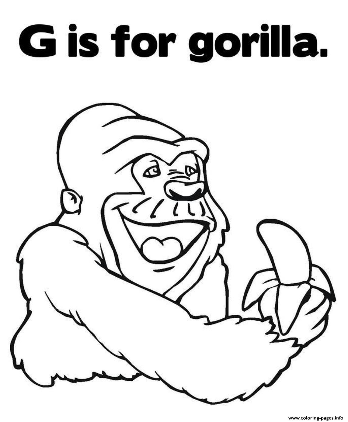 coloring pages alphabet g is for gorilla animal67ce coloring pages printable