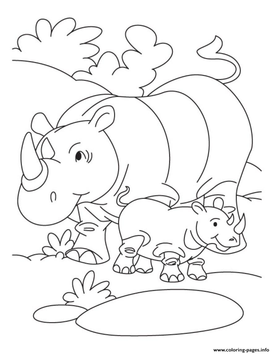 Rhino And Her Baby Free Animal S77c4 Coloring Pages Printable