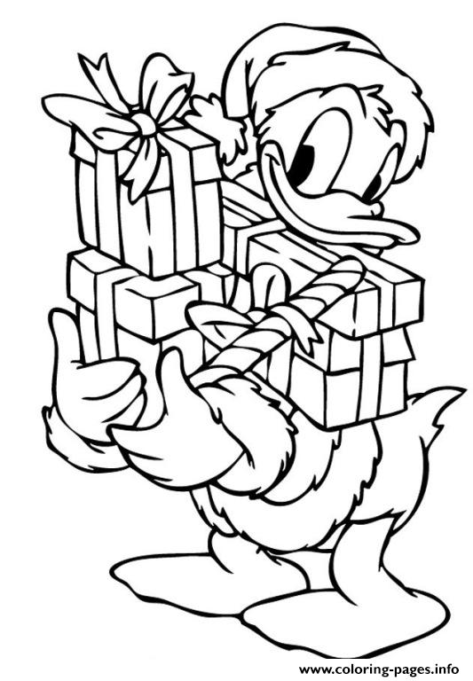Donald Duck With Christmas Presents Disney Sf801 coloring pages