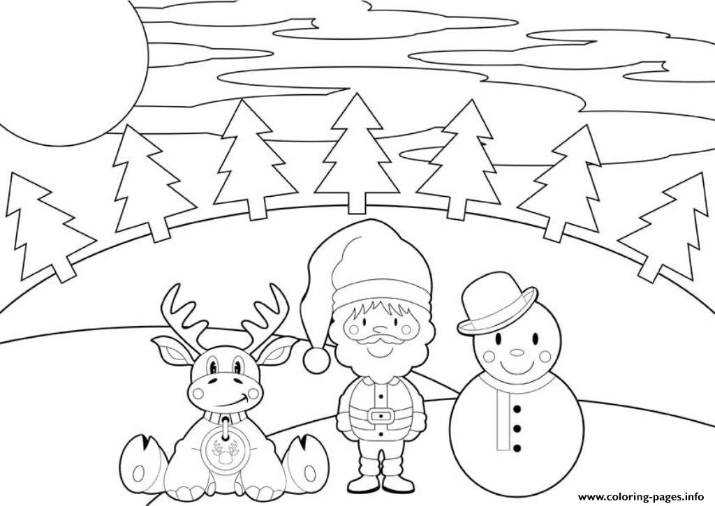 Reindeer Santa And Snowman Christmas S Printable3c57 Coloring Pages