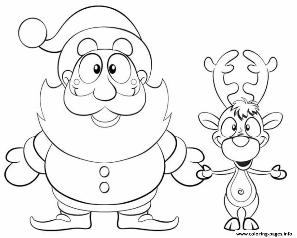 xmas santa reindeer s647e coloring pages