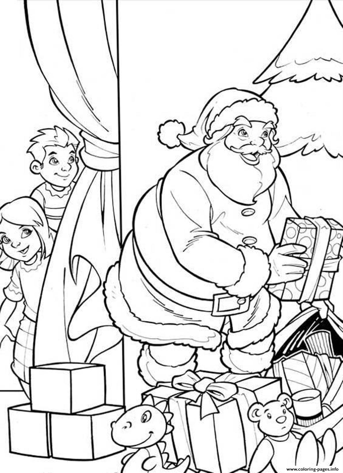 Kids Hiding From Santa D01c coloring pages