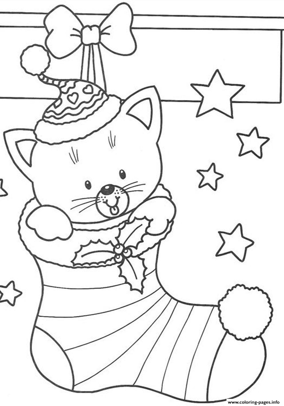 - Free S Christmas Cat In Stocking8a58 Coloring Pages Printable