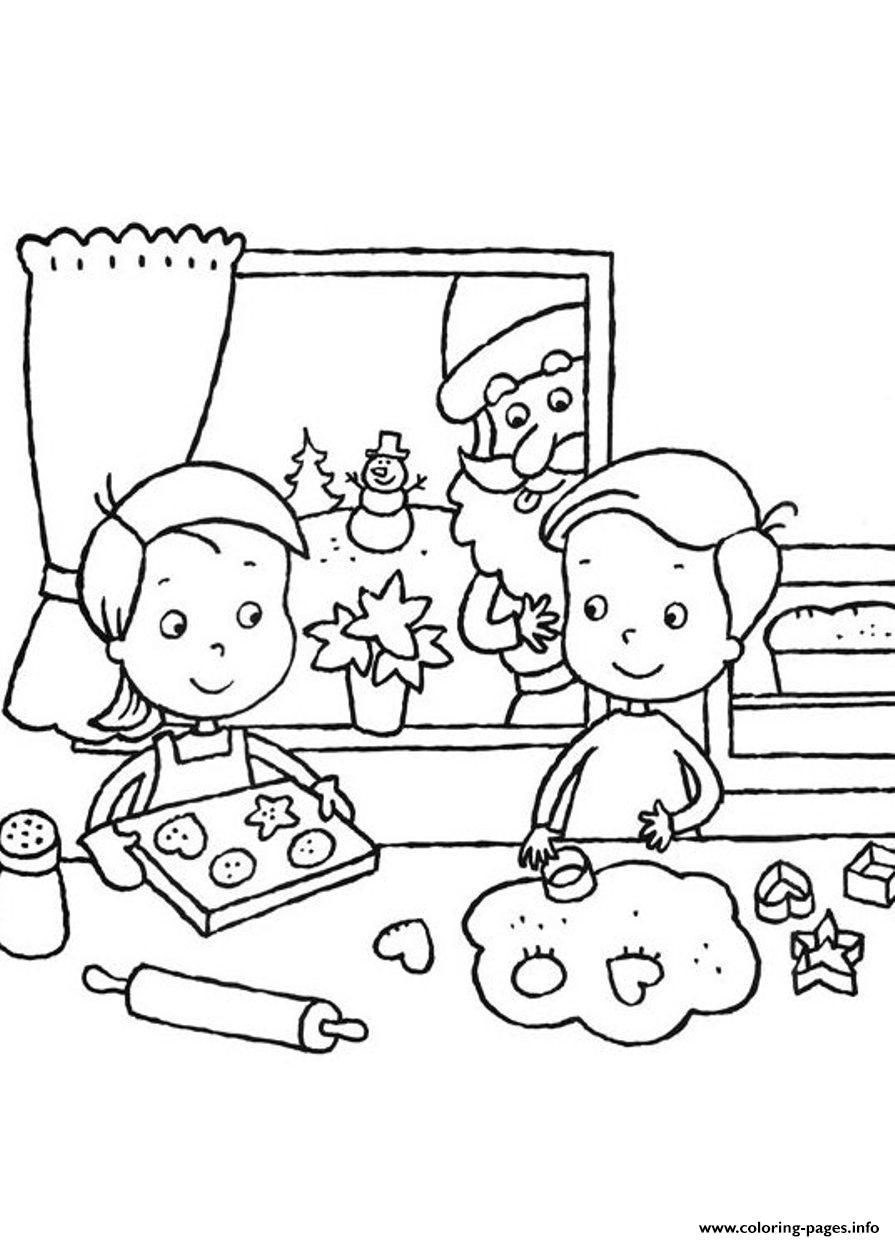 Kids Making Cookies For Santa Claus 14af Coloring Pages Printable