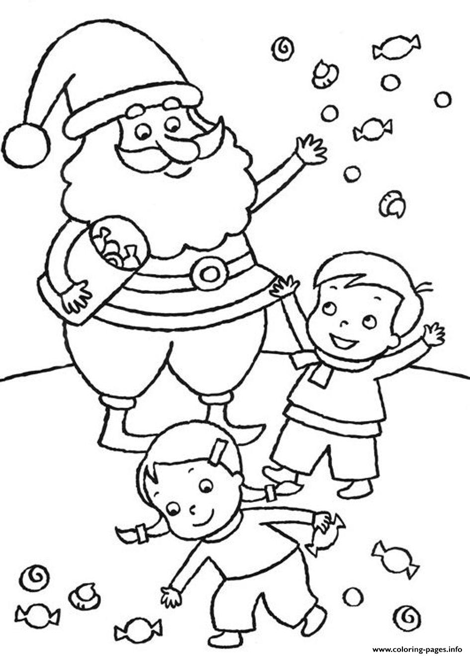 Free S Christmas Santa And Kids3e4b Coloring Pages Printable