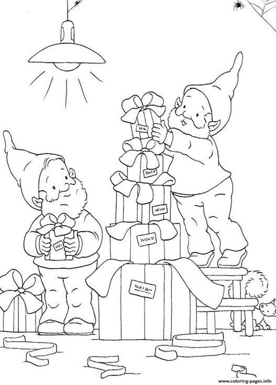 Printable S Christmas Elves Preparing Some Presents5fa7 Coloring ...