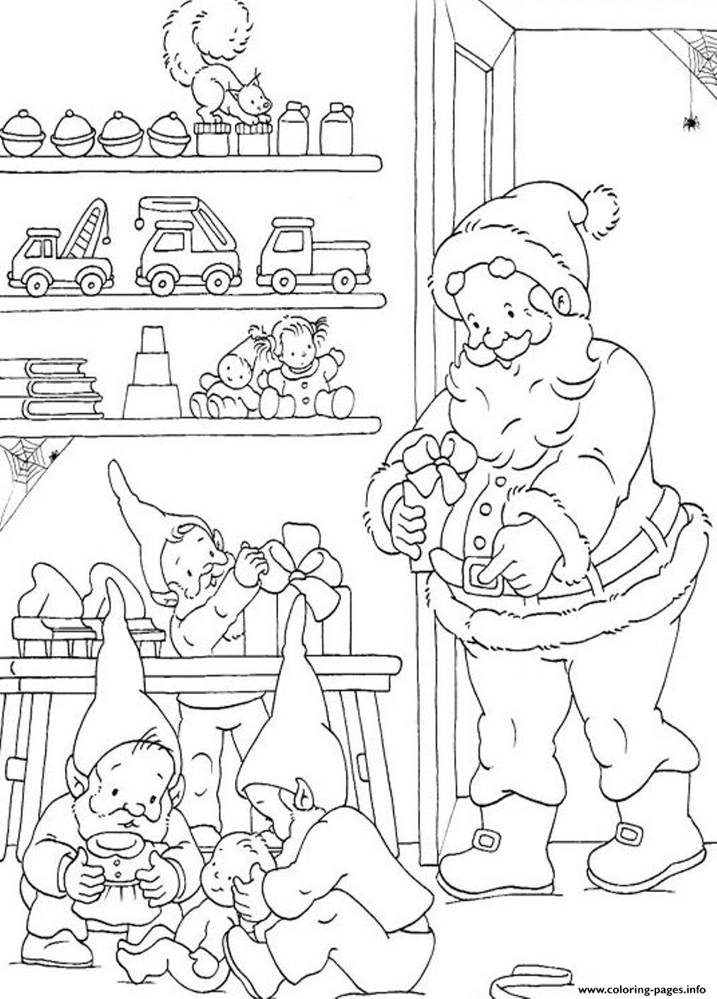 Coloring Pages Of Santa And Elves Preparing The Christmas ...