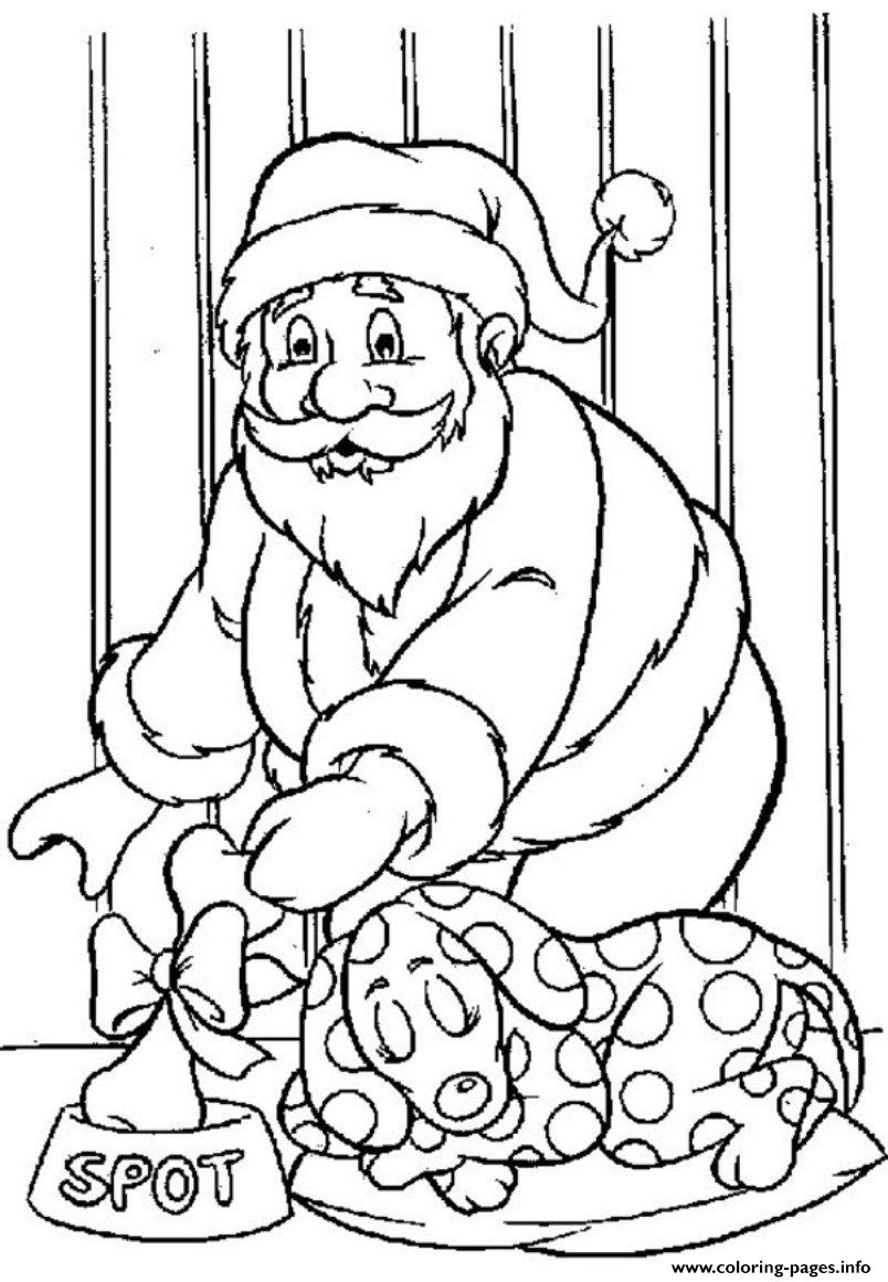 Santa  Gives A Bone For Dog82e2 coloring pages