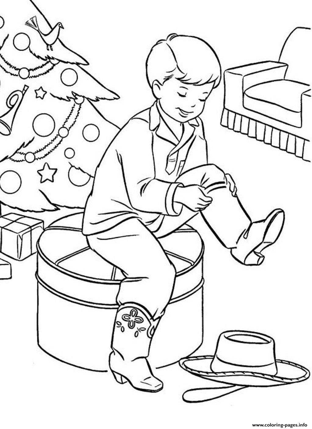 Christmas Boots For Present0357 Coloring Pages Printable