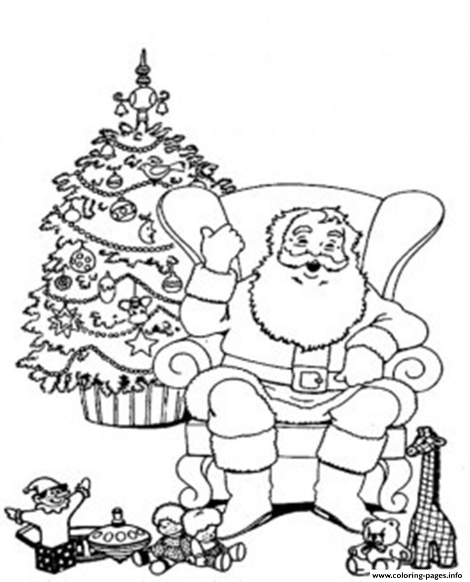 Santa Relaxing In A Chair Christmas S For Kids43e9 coloring pages