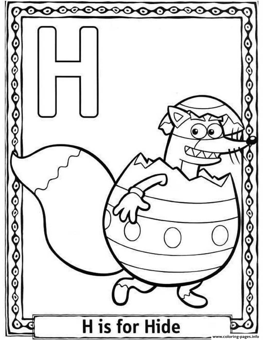 Dora Cartoon H Is For Hide Alphabet 9b64 Coloring Pages Printable