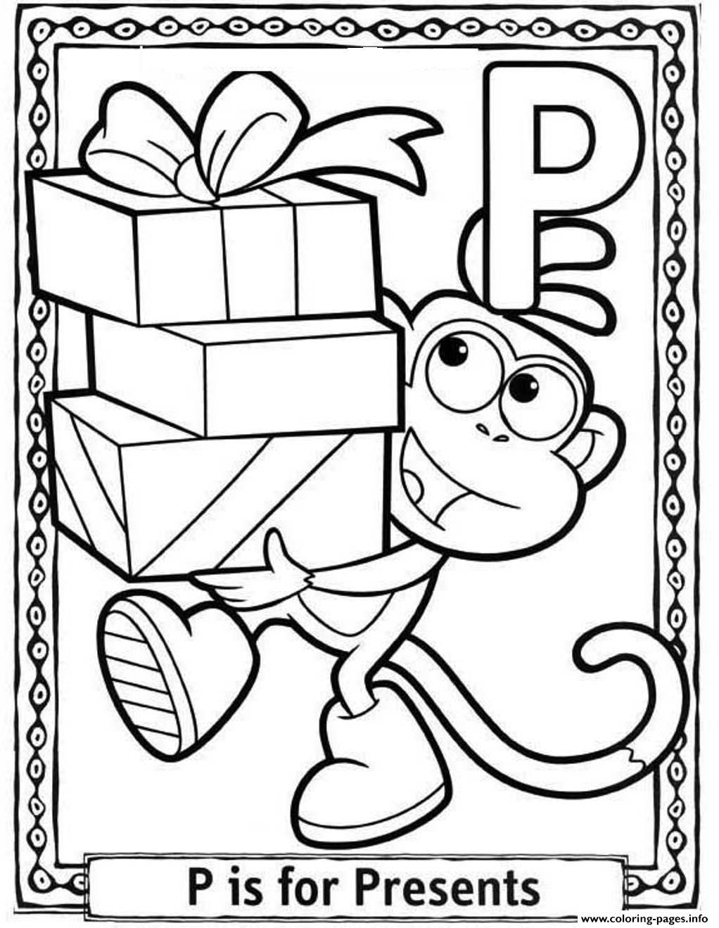 dora cartoon present free alphabet s075e coloring pages printable