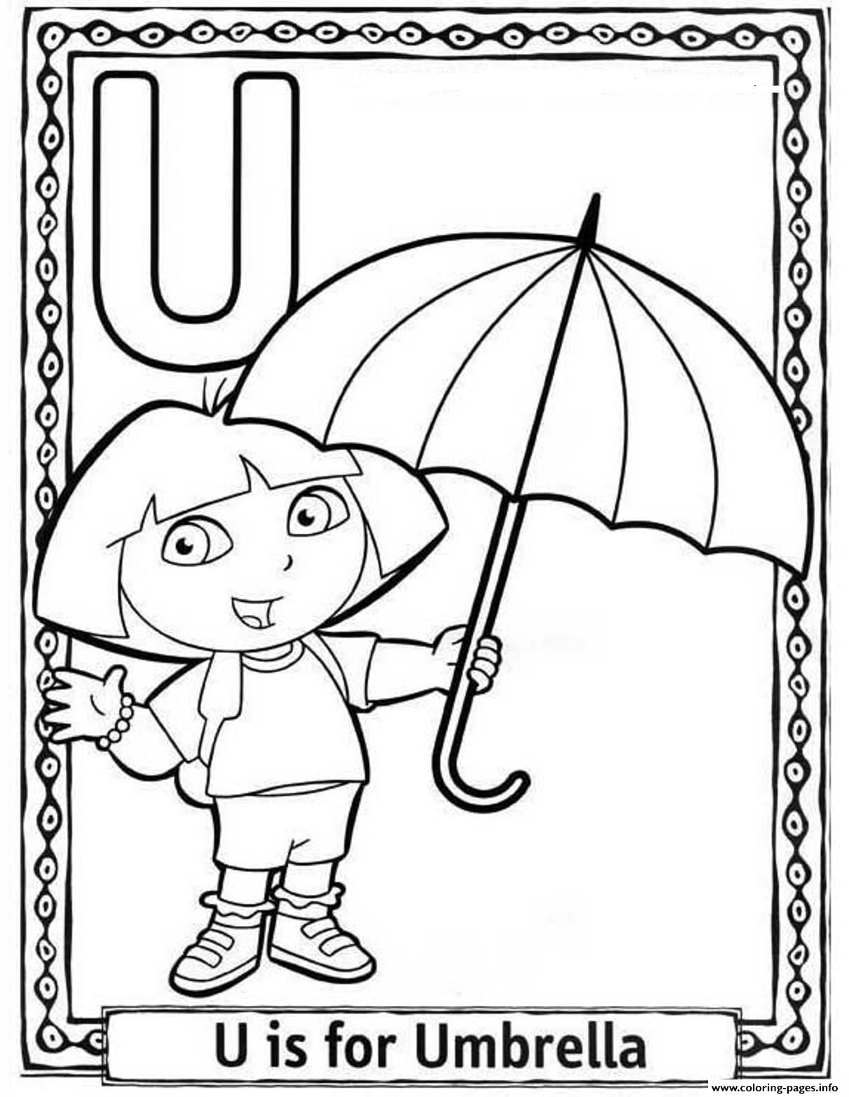 Dora Cartoon Alphabet S Free Umbrella2b65 Coloring Pages