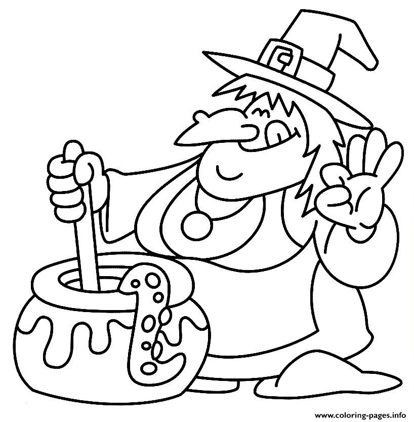 witch halloween colouring pages for kids printables865a Coloring