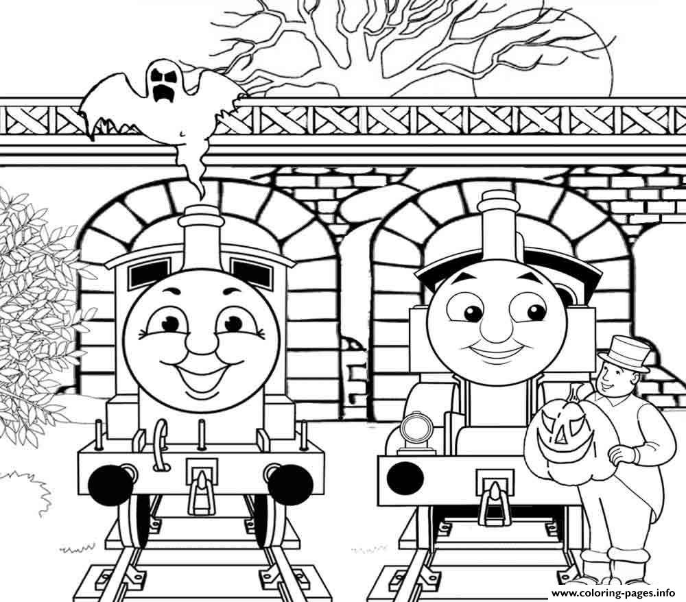 Thomas the train halloween sde4e coloring pages printable