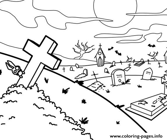 scary graveyard halloween e256 coloring pages printable