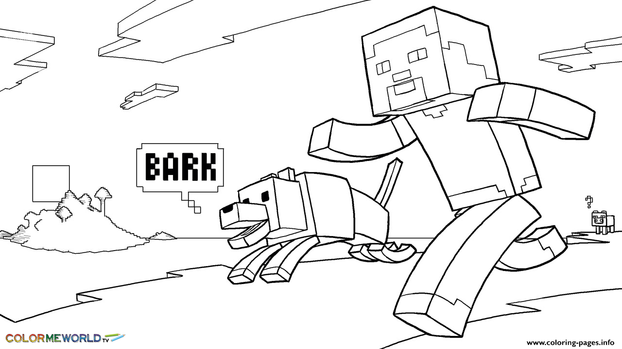 minecraft coloring kids with dog coloring pages printable