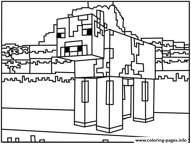 minecraft dog Coloring pages Printable