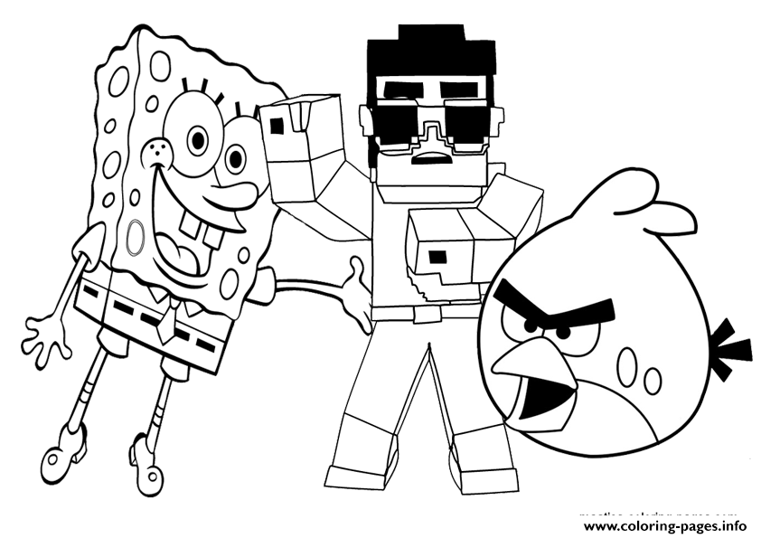 minecraft with angry birds and spongebob coloring pages print download