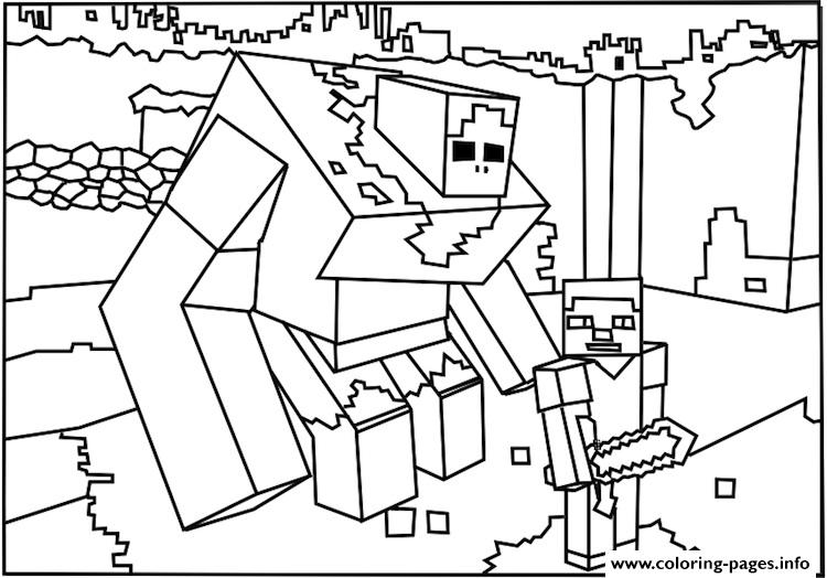 Minecraft Coloring Big Guy Colouring Print Pages