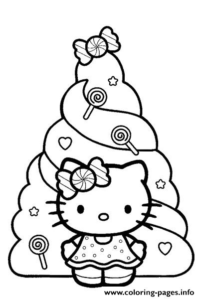 Hello Kitty Christmas Dayd3c6 Coloring Pages Printable