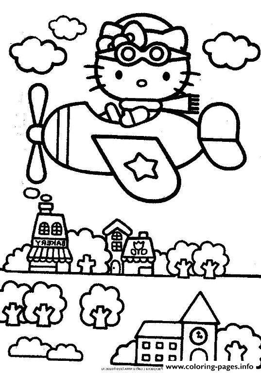 Hello Kitty Flying On A City 0528 coloring pages