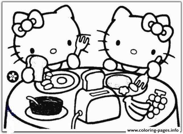 Hello Kitty Having Breakfast C651 Coloring Pages Printable