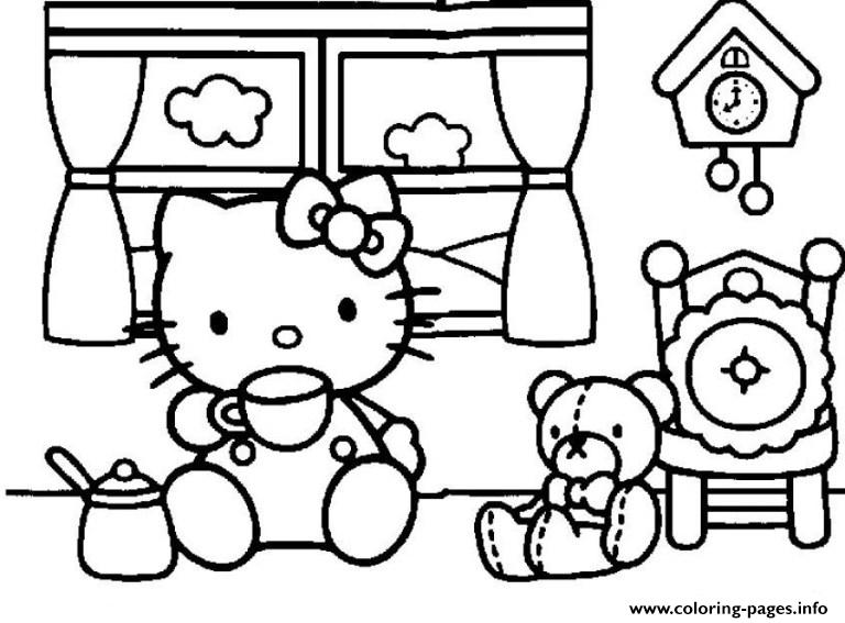 Hello Kitty Having Tea F853 coloring pages