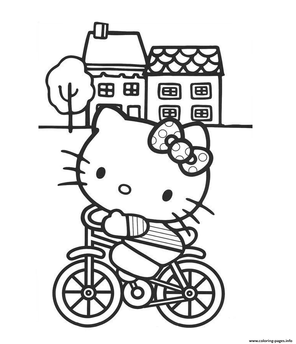 Riding Bicycle Hello Kitty  Free9087 coloring pages